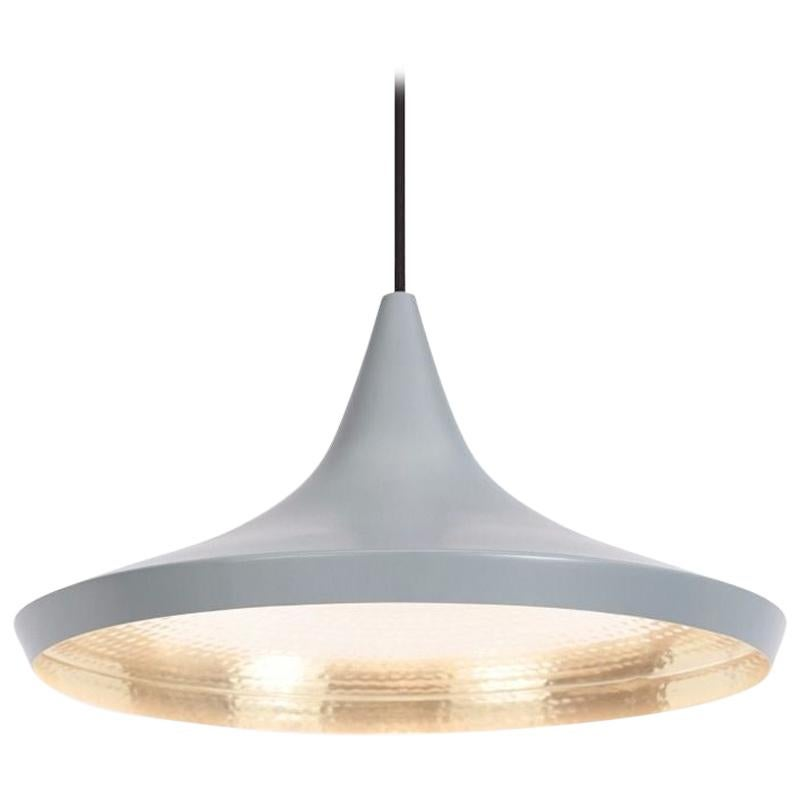 Tom Dixon Beat Minimal Wide Gray Pendant Brass Light Fixture Contemporary, UK