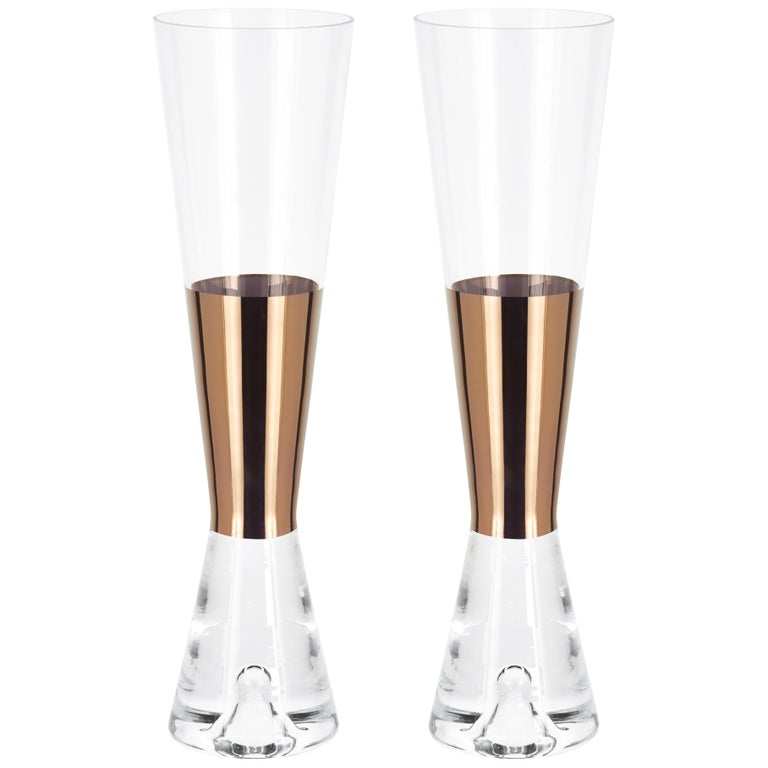 Tom Dixon Champagne Glasses Copper, Set of 6 For Sale