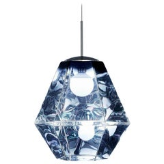 Tom Dixon Cut Smoke Pendant Tall, Translucent Gem, Diamond Cut, Space Age Light