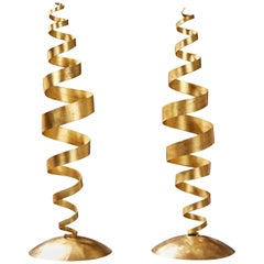 Tom Dixon Early Pair of Kinetic Gold Leaf Spiral Floor Lamps, UK, 1988