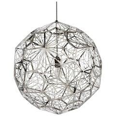 Tom Dixon Minimal Steel Etch Web Spherical Pendant, Industrial Contemporary