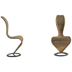 Tom Dixon S-Chair with Marsh Straw or Wicker Upholstery for Cappellini