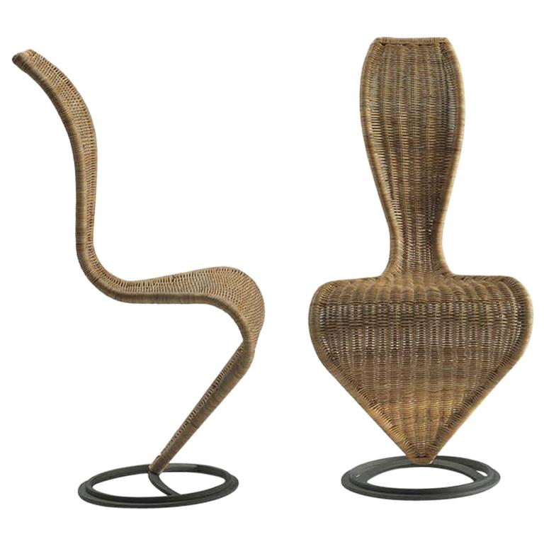 Tom Dixon S-Chair with Marsh Wicker Upholstery for Cappellini For Sale