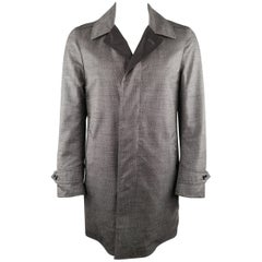 TOM FORD, 38 grau Heather Wolle & schwarzes Nylon, reversibler Mantel