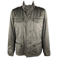 TOM FORD 46 Gray Polyester / Nylon High Collar Epaulettes Zip & Snaps Jacket