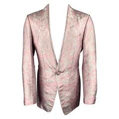 "TOM FORD ""Atticus"" Size 38 Pink & Silver Snake Jacquard Viscose Blend Sport Coat"