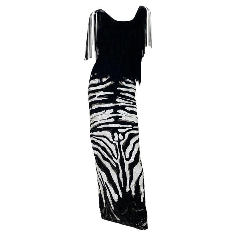 Tom Ford Beaded Tulle Zebra Skirt with Black Fringe Top
