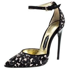 Tom Ford Beige/Black Embroidered Suede D'Orsay Ankle Strap Pumps Size 38