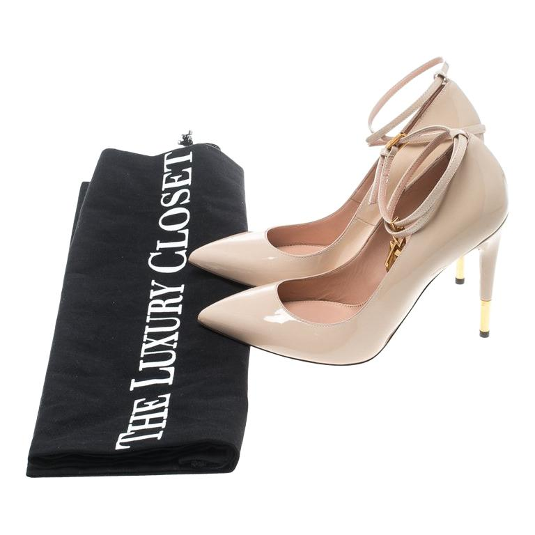 8c8f1c5df1 Tom Ford Beige Patent Leather Padlock Ankle Wrap Pointed Toe Pumps Size 38  For Sale