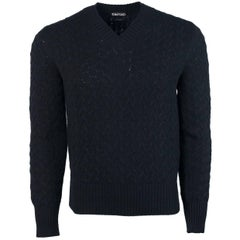 Tom Ford Black Cashmere Blend V Neck Curved Cable Knit Sweater