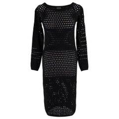Tom Ford Black Fishnet Long Sleeve Dress - Size S