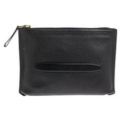 Tom Ford Black Grain Leather Buckley Zip Portfolio