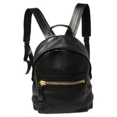 Tom Ford Black Grained Leather Buckley Backpack