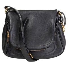 TOM FORD black grained leather JENNIFER MEDIUM CROSSBODY Shoulder Bag