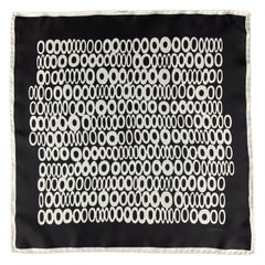 TOM FORD Black & Grey Circles Print Silk Pocket Square