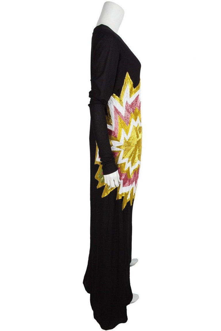 TOM FORD  Black Knit & Multi Color Beaded Starburst Maxi 2013 Collection In Good Condition For Sale In Scottsdale, AZ