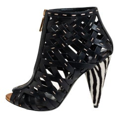 Tom Ford Black Leather and Pony Hair Zebra Heel Woven Cage Ankle Booties Size 38