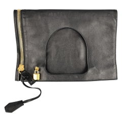 TOM FORD Black Leather AXIS Gold Padlock Fold Over Clutch Shoulder Bag