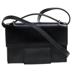 Tom Ford Black Leather Flap Top Handle Bag
