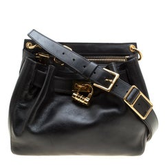 Tom Ford Black Leather Front Lock Cross Body Bag
