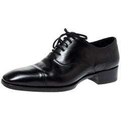 Tom Ford Black Leather Gianni Cap Toe Oxfords Size 40