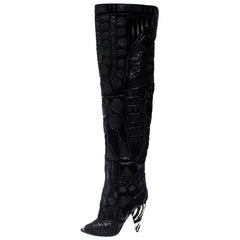 Tom Ford Black Leather/Lace Peep Toe Over The Knee Boots Size 37.5