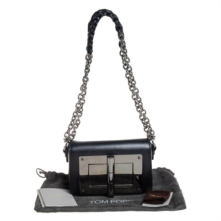 Tom Ford Black Leather Mini Natalia Chain Shoulder Bag For Sale 2