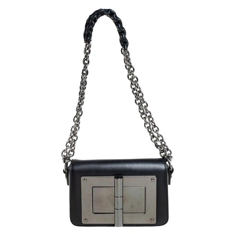 Tom Ford Black Leather Mini Natalia Chain Shoulder Bag For Sale