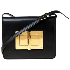 Tom Ford Black Leather Natalia Crossbody Bag
