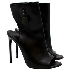 Tom Ford Black Leather Padlock Open Toe Booties 37.5