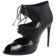 Tom Ford Black Leather Peep Toe Ankle Booties Size 39
