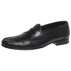 Tom Ford Black Leather Penny Slip On Loafers Size 42