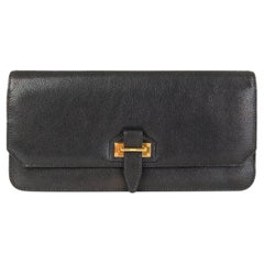 TOM FORD black leather Tab Flap Clutch Bag