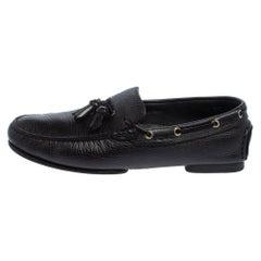 Tom Ford Black Leather Tassel Slip On Loafers Size 43