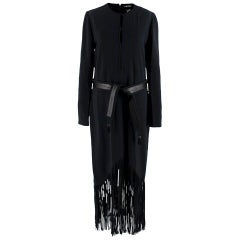 Tom Ford Black Long Fringed Dress with Leather Belt US8