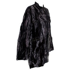 Tom Ford Black Metallic Crinkled Silk Oversize Jacket 42