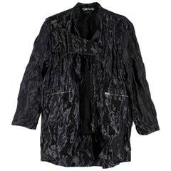 Tom Ford Black Metallic Crinkled Silk Oversize Jacket - Size US 6