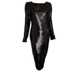 Tom Ford Black Open Back Zip Liquid Sequin Dress Size 40