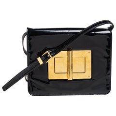 Tom Ford Black Patent Leather Natalia Crossbody Bag