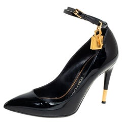 Tom Ford Black Patent Leather Padlock Pointed Toe Pumps Size 36