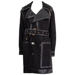 TOM FORD black PERFORATED LEATHER TRENCH Coat Jacket 36 XXS