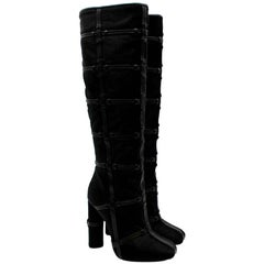 Tom Ford Black Pony Hair Leather Caged Tall Boots - Size 38