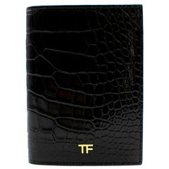 Tom Ford Black Shiny Alligator Passport Holder 13.5cm