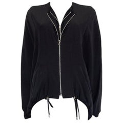 TOM FORD black silk OVERSIZED DOUBLE ZIP PONCHO Jacket 36 XXS