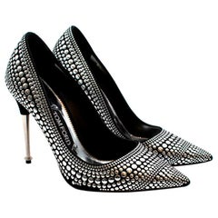 Tom Ford Black/Silver Studded Leather Pumps - Size 38.5