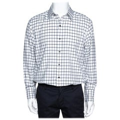 Tom Ford Black & White Checked Cotton Long Sleeve Shirt XL