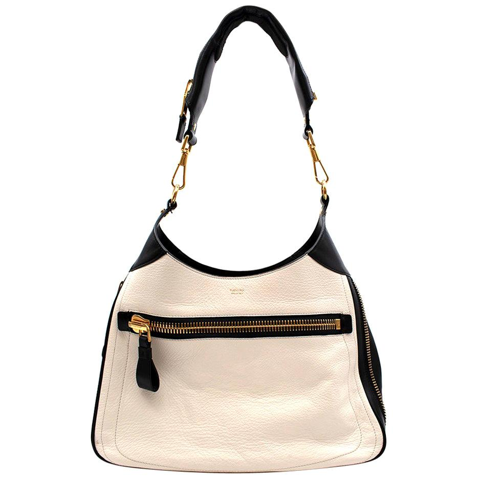 Tom Ford Black & White Leather Zip Around Shoulder Bag