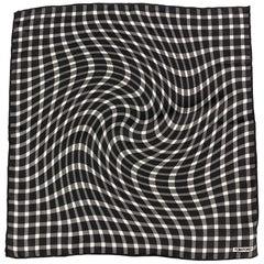 TOM FORD Black & White Optical Plaid Silk Pocket Square