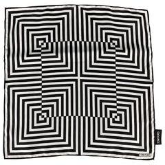 TOM FORD Black & White Optical Square Pocket Square
