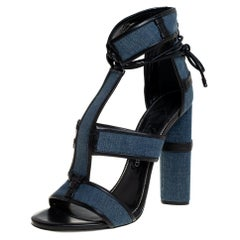 Tom Ford Blue Denim And Leather Cage Ankle Wrap Sandals Size 40